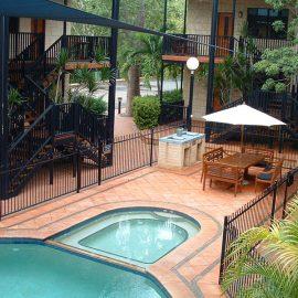 Blue Seas Resort balcony view and pool