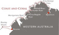 True North 13 Night Coast and Coral itinerary map