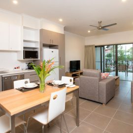 Freshwater East Kimberley Apartments dining and living area