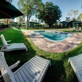 Home Valley Station guest pool and gardens