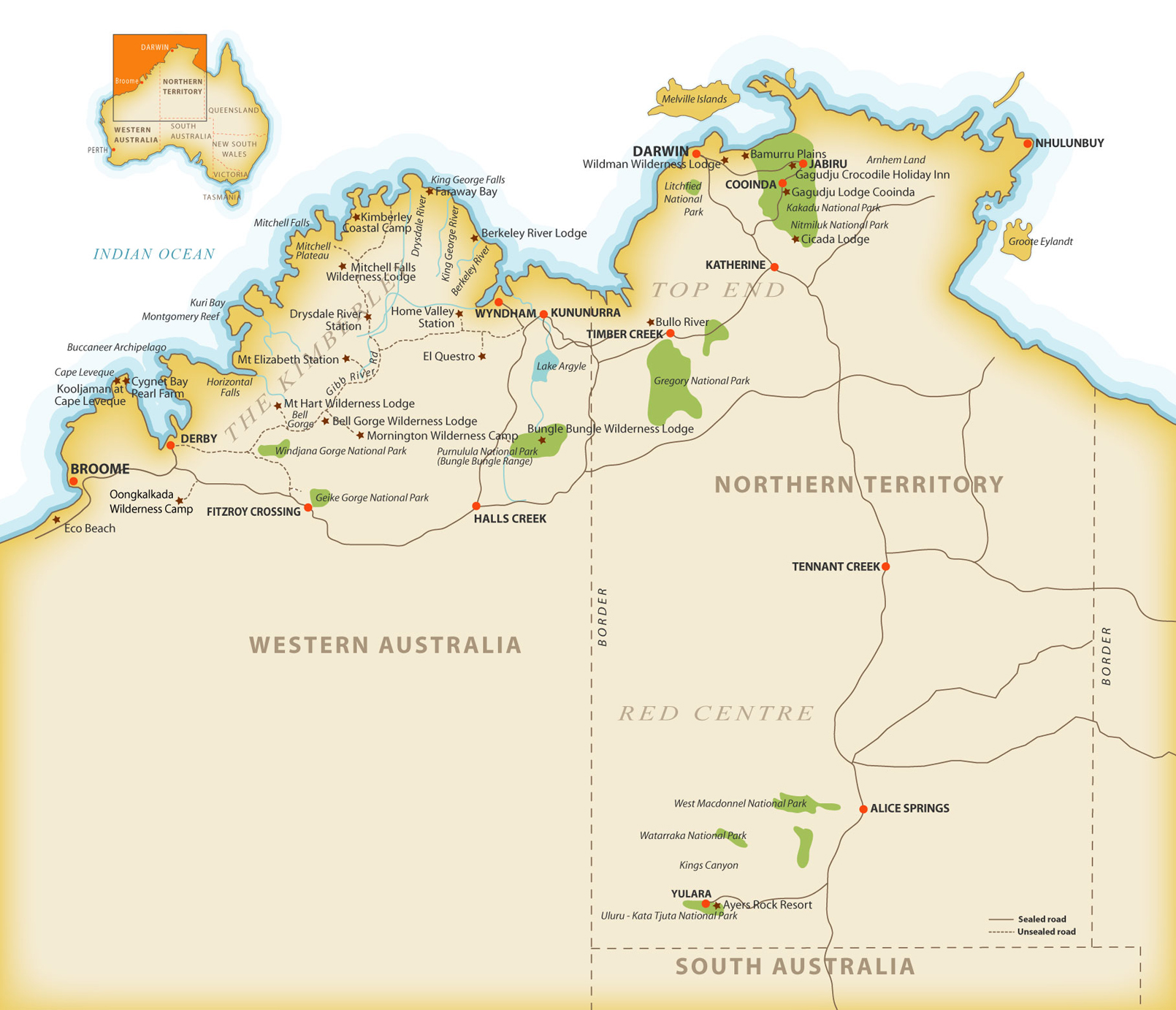 Map of Kimberley region and Northern Territory, Australia