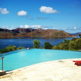 Lake Argyle Resort aerial cliff-edge infinity pool
